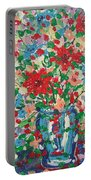 Blue And Red Flowers. Portable Battery Charger