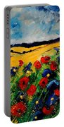 Blue And Red Poppies 45 Portable Battery Charger
