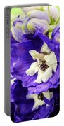 Blue And White Delphiniums Portable Battery Charger