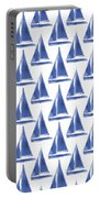 Blue And White Sailboats Pattern- Art By Linda Woods Portable Battery Charger