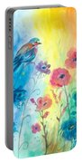 Blue Bird And Flowers Portable Battery Charger