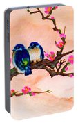 Blue Birds And Plum Blossoms #48 Portable Battery Charger