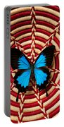 Blue Black Butterfly In Basket Portable Battery Charger