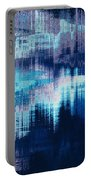 blue blurred abstract background texture with horizontal stripes. glitches, distortion on the screen broadcast digital TV satellite channels Portable Battery Charger