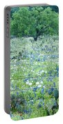 Blue Bonnets,poppies And Willow Tree 2 Portable Battery Charger