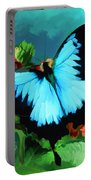 Blue Butterfly On Lantana Plant Oil Painting Portable Battery Charger