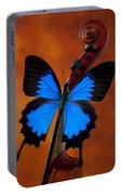 Blue Butterfly On Violin Portable Battery Charger