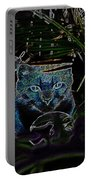 Blue Cat In The Garden Portable Battery Charger