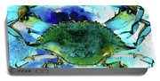 Blue Crab - Abstract Seafood Painting Portable Battery Charger