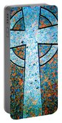 Blue Marbled Cross Portable Battery Charger