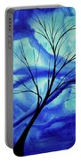 Blue Depth Abstract Original Acrylic Landscape Moon Painting By Megan Duncanson Portable Battery Charger