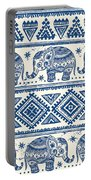 Blue Elephant With Ornaments Design Portable Battery Charger
