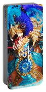 Blue Feather Carnival Costume And Colorful Background Horizontal Portable Battery Charger
