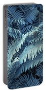 Blue Fern Leaves Abstract. Nature In Alien Skin Portable Battery Charger