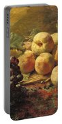 Blue Grapes And Peaches In A Wicker Basket Portable Battery Charger