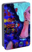 Blue Haired Girl On Windy Day Portable Battery Charger