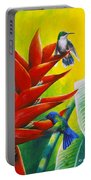 Blue-headed Hummingbirds And Heliconia Portable Battery Charger