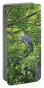 Blue Heron In Green Tree Portable Battery Charger