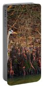 Blue Heron In The Cypress Knees Portable Battery Charger