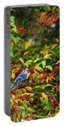 Blue Jay And Berries Portable Battery Charger