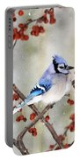 Blue Jay In Snowfall 3 Portable Battery Charger