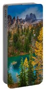 Blue Lake And Early Winter Spires Portable Battery Charger