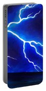 Blue Lightning Above The Ocean Portable Battery Charger