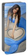 Blue Mermaid's Heart Portable Battery Charger by Sue Halstenberg
