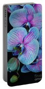 Blue Orchid On Black Portable Battery Charger
