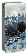 Blue Ottawa Skyline - Water Color Portable Battery Charger