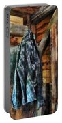Blue Plaid Jacket In Cabin Portable Battery Charger by Susan Savad