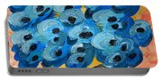 Blue Poppies In Square Vase  Portable Battery Charger