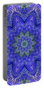 Blue Purple Lavender Floral Kaleidoscope Wall Art Print Portable Battery Charger