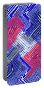 Blue Red And White Janca Abstract Panel Portable Battery Charger