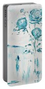 Blue Roses On A Table Portable Battery Charger