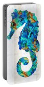 Blue Seahorse Art By Sharon Cummings Portable Battery Charger