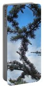 Blue Sky Art Prints White Clouds Conifer Pine Branches Baslee Troutman Portable Battery Charger