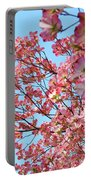 Blue Sky Floral Art Print Pink Dogwood Tree Flowers Baslee Troutman Portable Battery Charger
