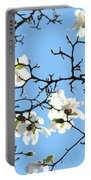Blue Sky Floral Art White Magnolia Tree Portable Battery Charger