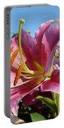 Blue Sky Floral Landscape Pink Lilies Art Prints Canvas Baslee Troutman Portable Battery Charger