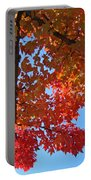 Blue Sky Red Autumn Leaves Sunlit Orange Baslee Troutman  Portable Battery Charger