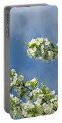 Blue Sky White Clouds Landscape Art White Tree Blossoms Spring Portable Battery Charger