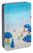 Blue Striped Umbrellas Portable Battery Charger