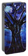 Blue Tree At Night Portable Battery Charger
