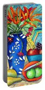 Blue Vase With Orange Flowers Portable Battery Charger