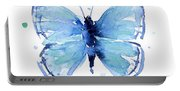 Blue Watercolor Butterfly Portable Battery Charger