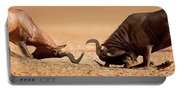 Blue Wildebeest Sparring With Red Hartebeest Portable Battery Charger