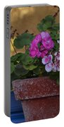 Blue Window With Geraniums Portable Battery Charger