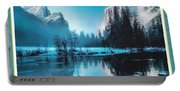 Blue Winter Fantasy. L A With Decorative Ornate Printed Frame. Portable Battery Charger