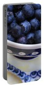 Blueberries In Polish Pottery Bowl Portable Battery Charger